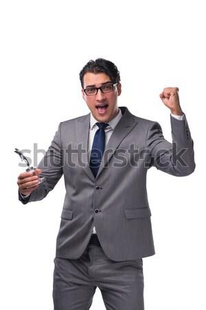 Stock fotó: üzletember · fegyver · izolált · fehér · kéz · férfi