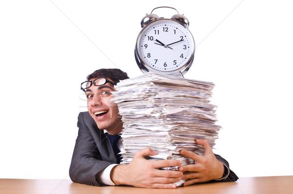 Frau Geschäftsmann Riese Wecker Uhr Arbeit Stock foto © Elnur