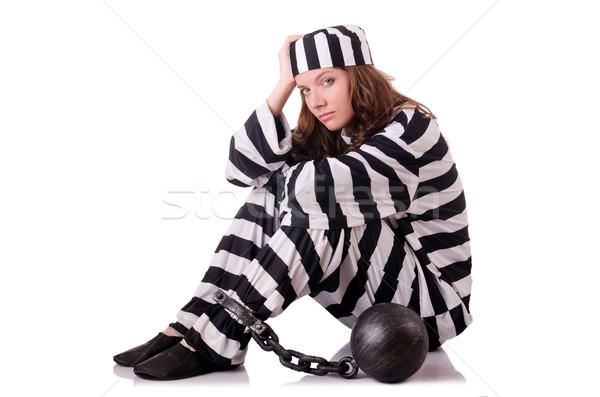Stok fotoğraf: Tutuklu · çizgili · üniforma · beyaz · Metal · hukuk