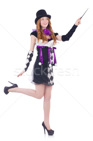 Magician woman with wand on white Stock photo © Elnur