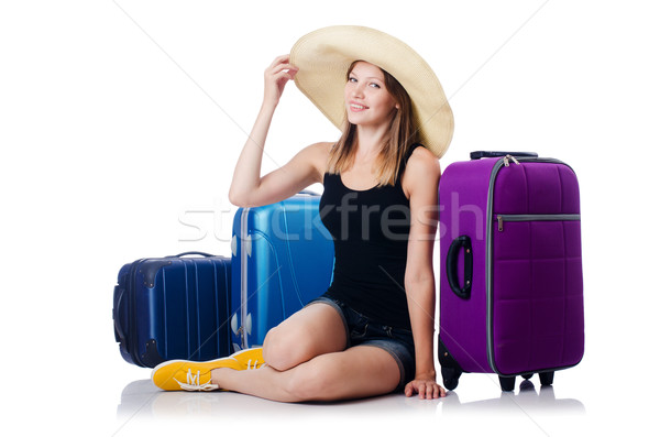 Young girl travelling isolated on the white Stock photo © Elnur
