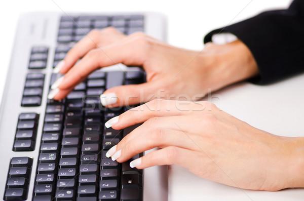 Kezek dolgozik billentyűzet iroda kéz internet Stock fotó © Elnur