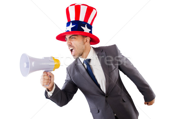 Man with loudspeaker and american hat Stock photo © Elnur