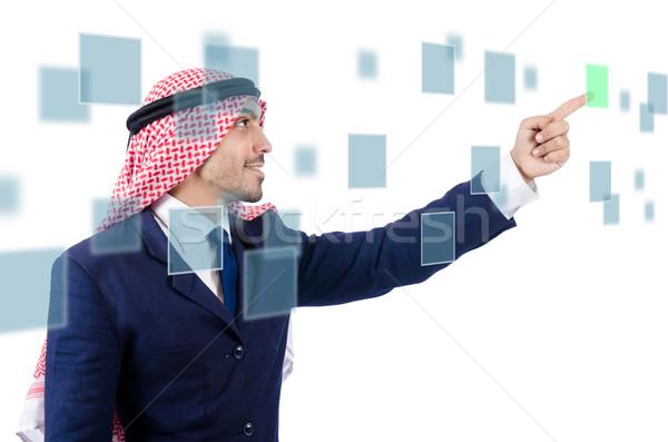 Arab férfi kisajtolás virtuális gombok üzlet Stock fotó © Elnur
