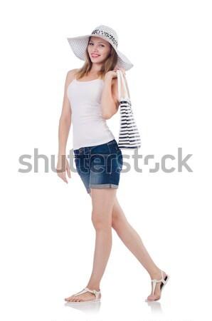 Fiatal lány Panama divat fogalmak izolált fehér Stock fotó © Elnur