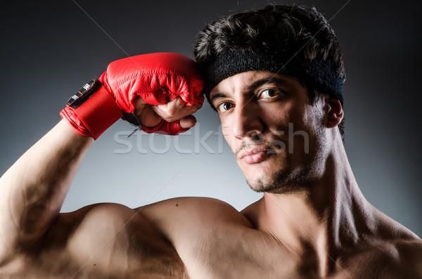 Stok fotoğraf: Kas · boksör · kırmızı · eldiven · el · spor