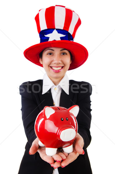Businesswoman with piggy bank  isolated on white Stock photo © Elnur