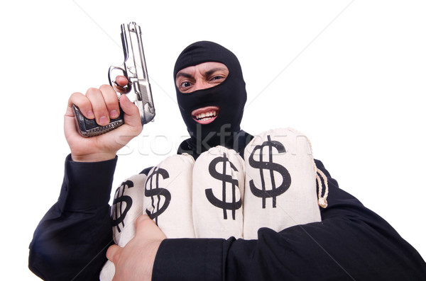 Funny criminal with gun isolated on white Stock photo © Elnur