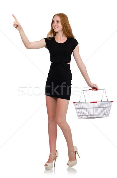 Kadın alışveriş süpermarket yalıtılmış beyaz iş Stok fotoğraf © Elnur