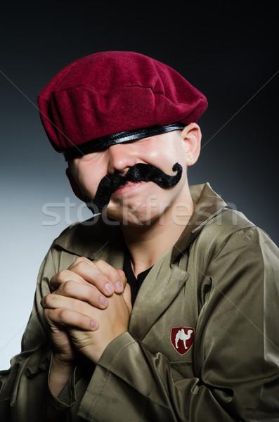 Komik asker askeri adam arka plan güvenlik Stok fotoğraf © Elnur