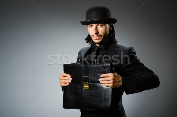 Biznesmen vintage teczki człowiek pracy Zdjęcia stock © Elnur