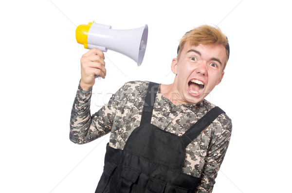 Funny soldier isolated on white Stock photo © Elnur