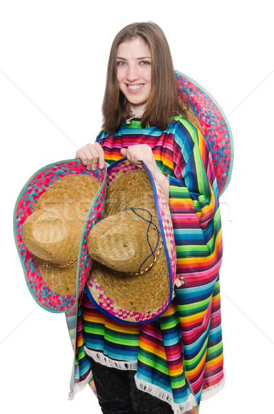 Pretty mexican girl in vivid poncho isolated on white Stock photo © Elnur