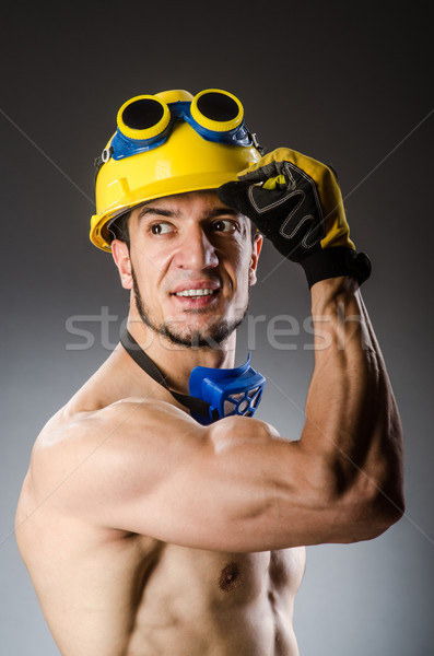 Muskularny budowniczy człowiek narzędzia budowy nago Zdjęcia stock © Elnur