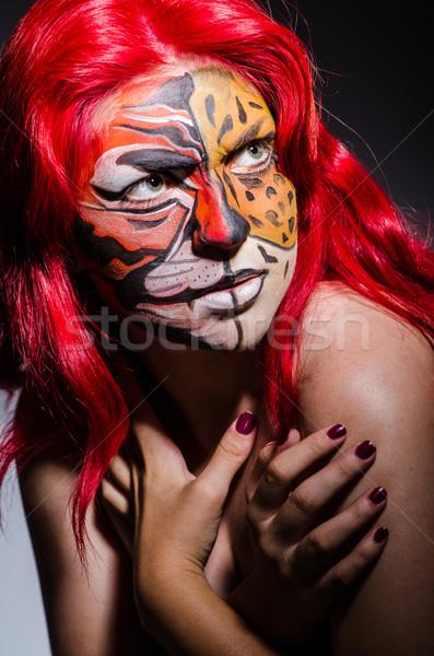 Kobieta Tygrys twarz halloween moda kot Zdjęcia stock © Elnur