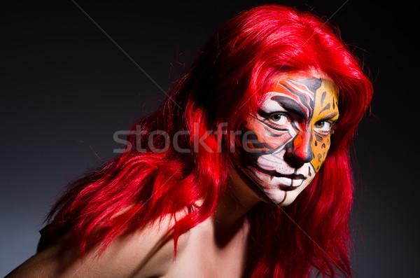 женщину тигр лице Хэллоуин моде кошки Сток-фото © Elnur