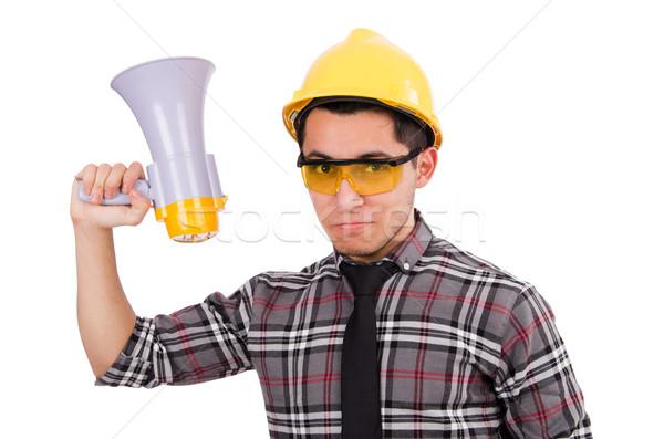építkezés felügyelő kiált megafon férfi háttér Stock fotó © Elnur