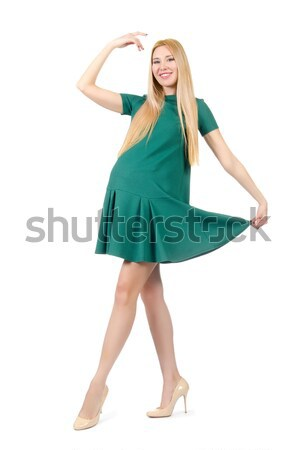 1ffa66bb008e Beautiful pregnant woman in green dress isolated on white Stock photo ©  Elnur