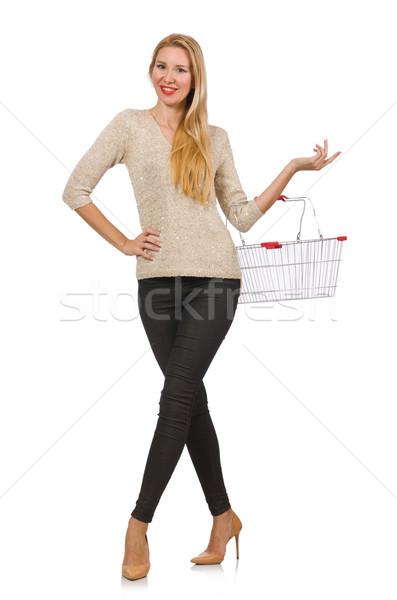 Vrouw winkelen supermarkt geïsoleerd witte gelukkig Stockfoto © Elnur