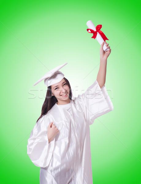 Jóvenes femenino estudiante diploma gradiente mujer Foto stock © Elnur