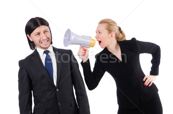 Businessman and businesswoman with megaphone isolated on white Stock photo © Elnur
