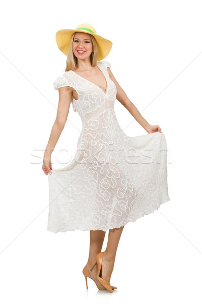 Woman in long summer dress and hat isolated on white Stock photo © Elnur