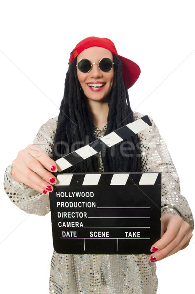 Girl with dreadlocks holding clapperboard isolated on white Stock photo © Elnur