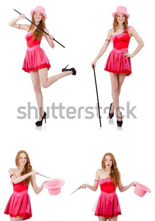 Foto stock: Mulher · jovem · rosa · vestir · isolado · branco · pernas