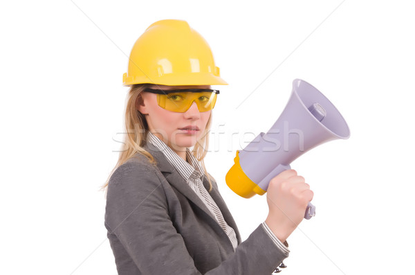 Female engineer in helmet with loudspeaker isolated on white Stock photo © Elnur