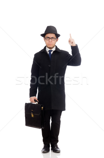Young man holding suitcase isolated on white Stock photo © Elnur