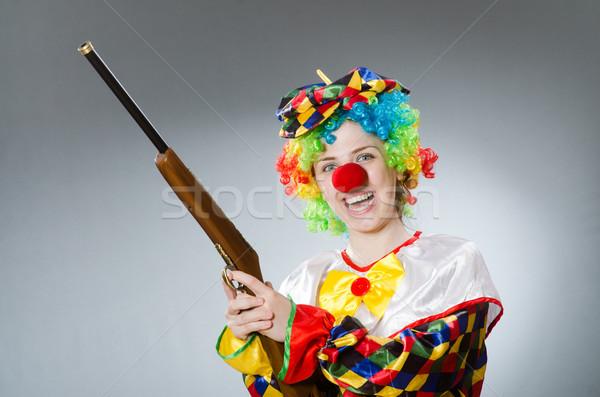 Clown geweer geïsoleerd witte business glimlach Stockfoto © Elnur