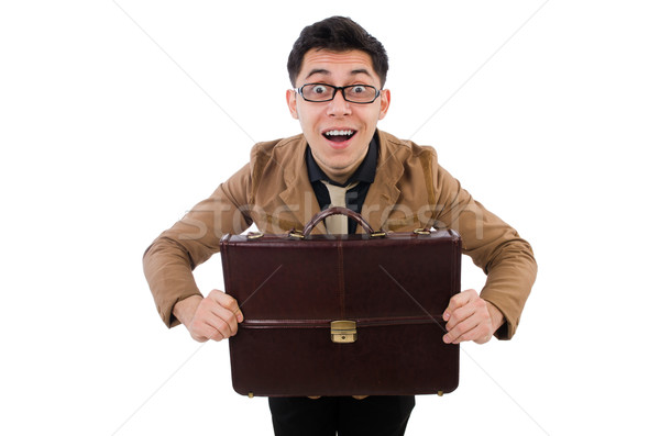 Young man with brown briefcase isolated on white Stock photo © Elnur