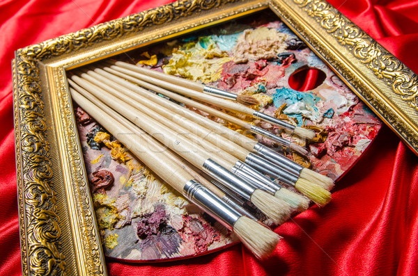 Sanatçı paletine sanat su okul boya Stok fotoğraf © Elnur