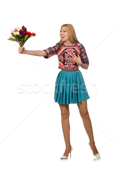 Woman with flowers isolated on white Stock photo © Elnur