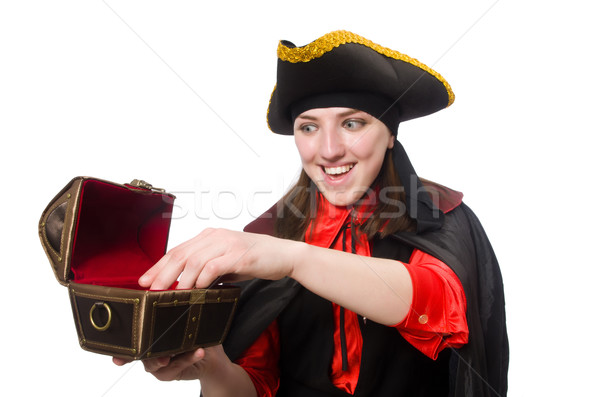 Female pirate in black coat holding treasure isolated on white Stock photo © Elnur