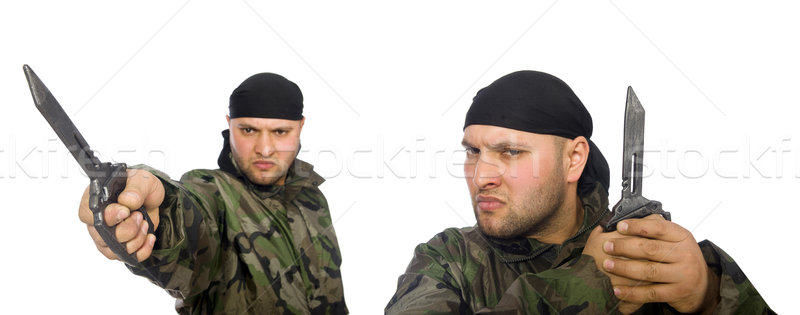 Stock photo: Young man in soldier uniform holding knife isolated on white