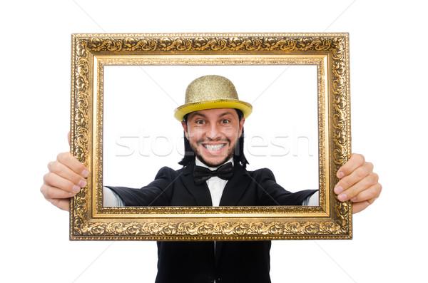 человека фоторамка изолированный белый фон Сток-фото © Elnur