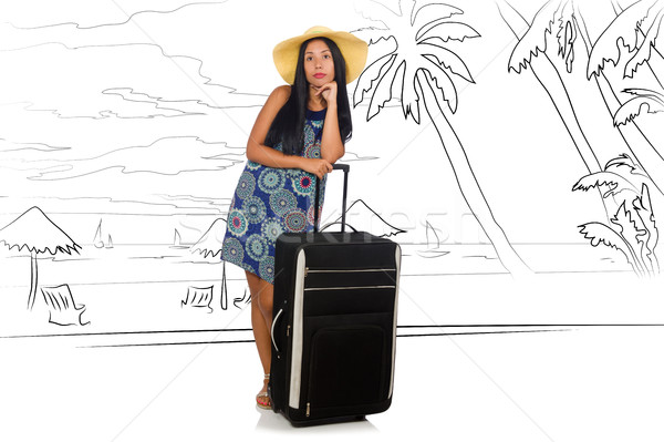 Młoda kobieta podróży plaży szczęśliwy Zdjęcia stock © Elnur