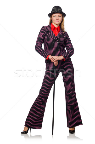 Woman with walking stick isolated on the white Stock photo © Elnur