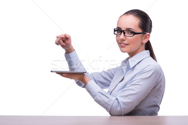 Businesswoman working tablet computer on white background Stock photo © Elnur
