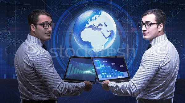 Stock fotó: üzletember · futurisztikus · számítástechnika · számítógép · világ · Föld