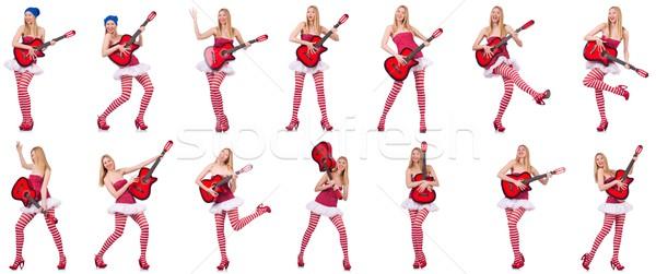 Jovem guitarrista isolado branco festa guitarra Foto stock © Elnur