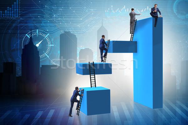 Foto d'archivio: Imprenditore · climbing · blocchi · sfidare · business · lavoro