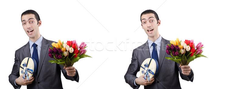 бизнесмен цветы бизнеса счастливым окна сумку Сток-фото © Elnur
