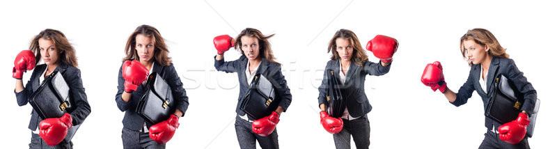 Jonge vrouw bokshandschoenen geïsoleerd witte business vrouw Stockfoto © Elnur