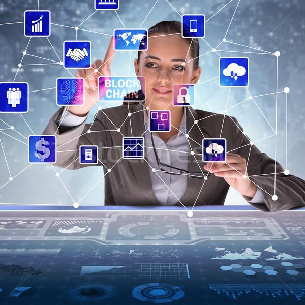 Foto stock: Empresária · tecnologia · segurança · rede · móvel · comunicação