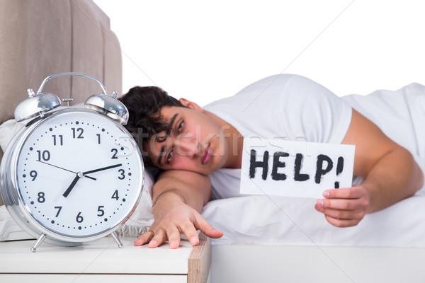 Uomo letto sofferenza insonnia clock triste Foto d'archivio © Elnur