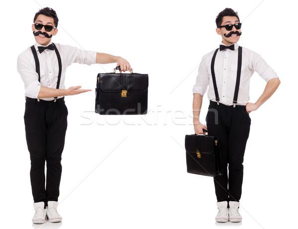 Сток-фото: молодым · человеком · портфель · изолированный · белый · моде · бизнесмен