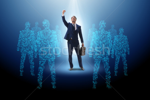 Geschäftsmann Rampenlicht Business Mann Menge Lautsprecher Stock foto © Elnur