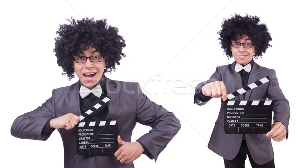 Man with movie clapper isolated on white Stock photo © Elnur